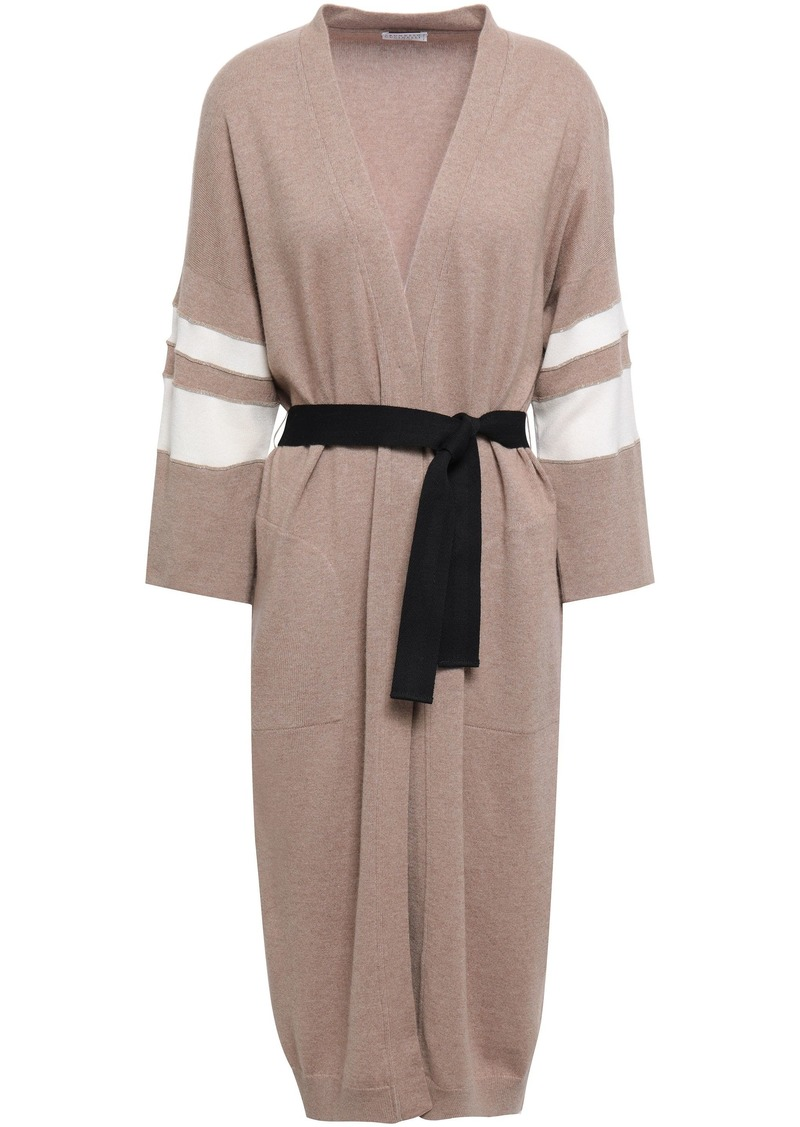 Brunello Cucinelli Woman Belted Bead-embellished Striped Cashmere Cardigan Sand