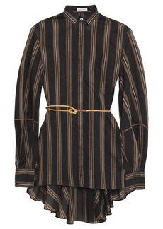 Brunello Cucinelli Woman Belted Bead-embellished Striped Cotton And Silk-blend Shirt Black