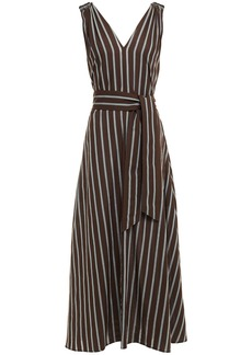 Brunello Cucinelli Woman Belted Bead-embellished Striped Cotton Midi Dress Brown