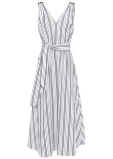 Brunello Cucinelli Woman Belted Bead-embellished Striped Cotton-poplin Midi Dress White