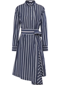 Brunello Cucinelli Woman Belted Bead-embellished Striped Cotton-poplin Shirt Dress Navy