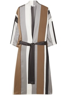 Brunello Cucinelli Woman Belted Bead-embellished Striped Silk-blend Satin Kimono Gray