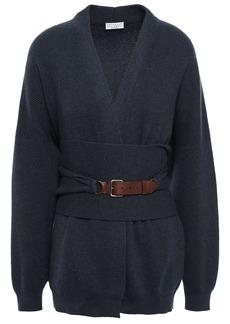 Brunello Cucinelli Woman Belted Cashmere Cardigan Navy