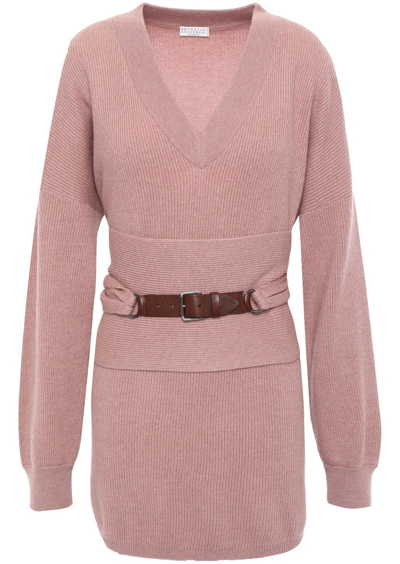 Brunello Cucinelli Woman Belted Cashmere Sweater Antique Rose