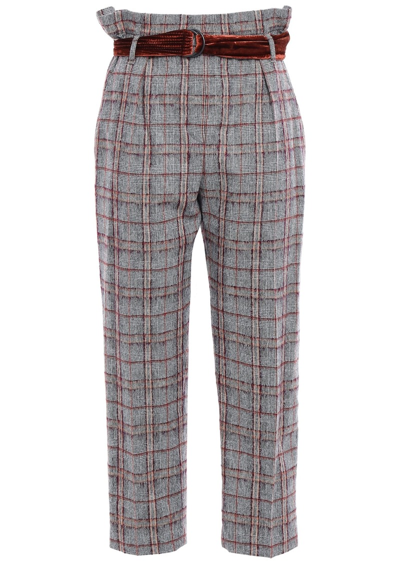Brunello Cucinelli Woman Belted Checked Brushed Wool-blend Straight-leg Pants Light Gray