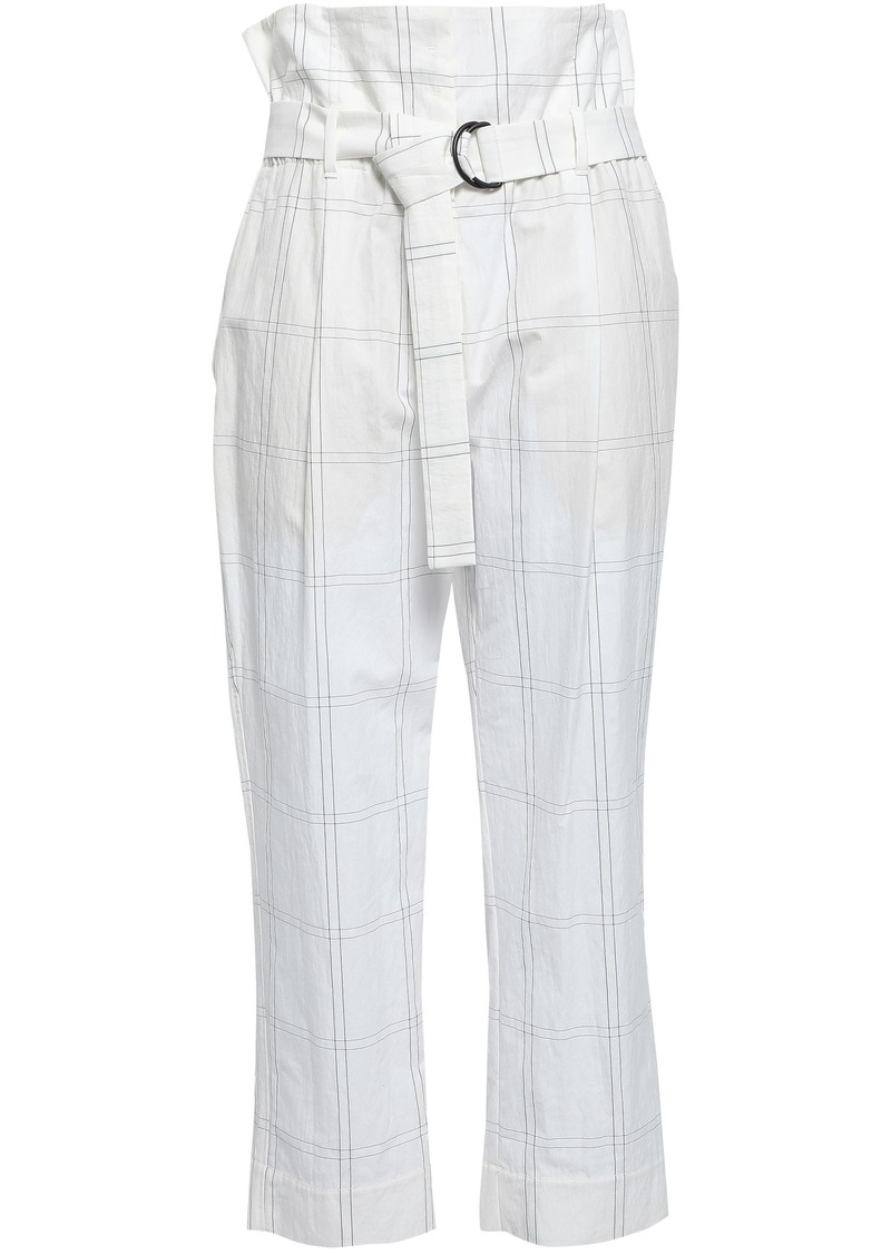 Brunello Cucinelli Woman Belted Checked Cotton-blend Tapered Pants White