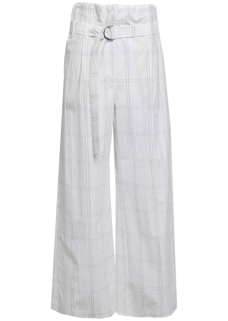 Brunello Cucinelli Woman Belted Checked Cotton-blend Wide-leg Pants White