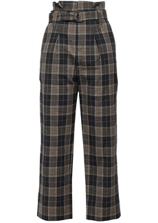 Brunello Cucinelli Woman Belted Checked Wool And Linen-blend Straight-leg Pants Dark Gray
