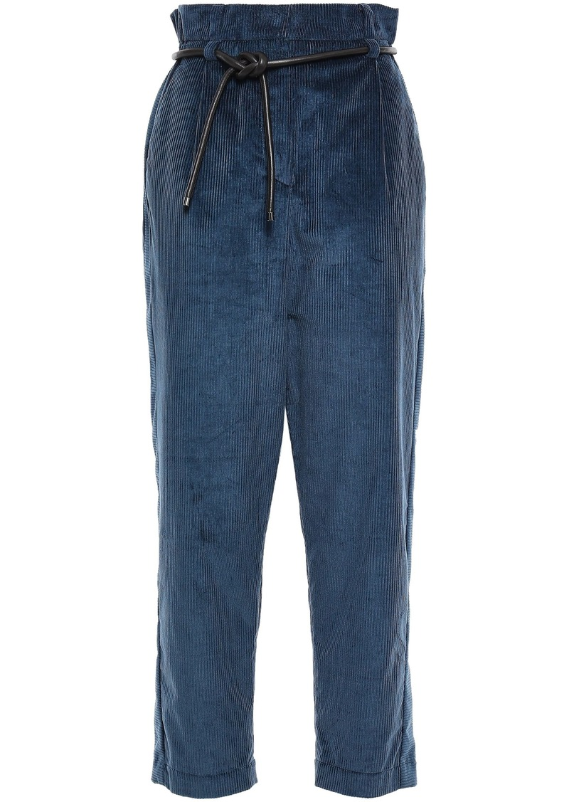 Brunello Cucinelli Woman Belted Cotton And Cashmere-blend Corduroy Tapered Pants Storm Blue