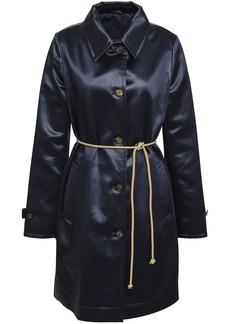 Brunello Cucinelli Woman Belted Cotton-blend Satin Coat Indigo