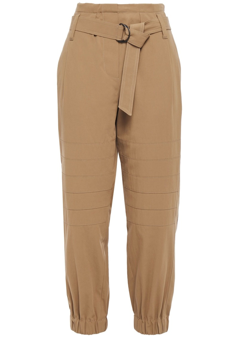 Brunello Cucinelli Woman Belted Cotton-twill Tapered Pants Camel