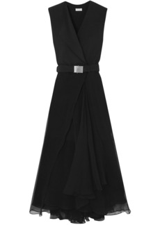 Brunello Cucinelli Woman Belted Crepe And Chiffon Maxi Dress Black