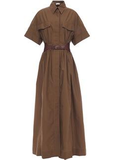 Brunello Cucinelli Woman Belted Crinkled Cotton-blend Poplin Maxi Shirt Dress Brown