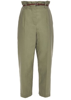 Brunello Cucinelli Woman Belted Crinkled Cotton-blend Tapered Pants Army Green