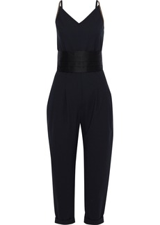 Brunello Cucinelli Woman Belted Pleated Satin-trimmed Bead-embellished Silk-blend Jumpsuit Navy