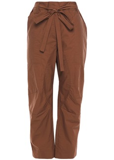 Brunello Cucinelli Woman Belted Cropped Cotton-blend Straight-leg Pants Brown