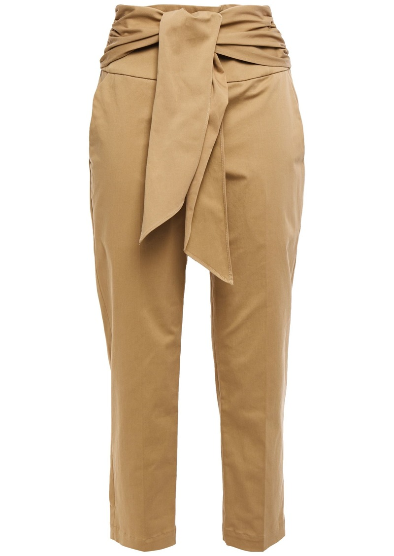 Brunello Cucinelli Woman Belted Cropped Cotton-blend Twill Slim-leg Pants Sand