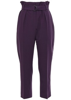 Brunello Cucinelli Woman Belted Cropped Stretch-wool Tapered Pants Dark Purple