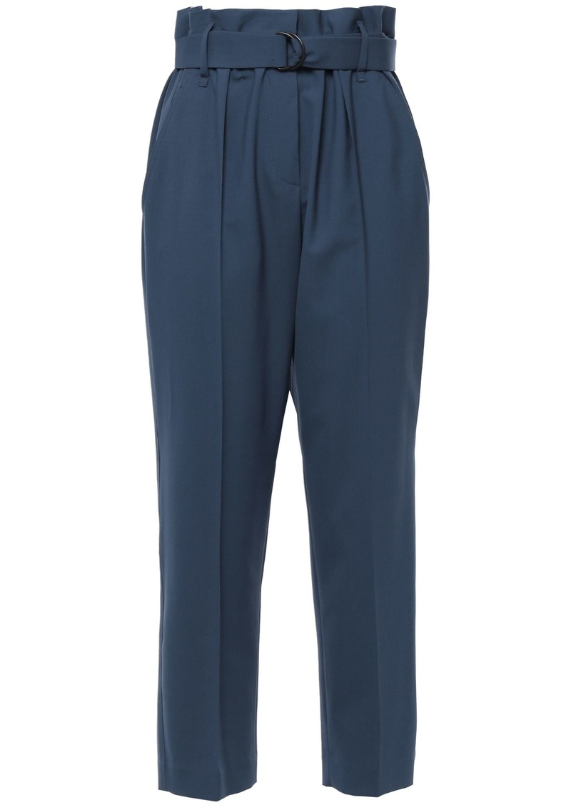 Brunello Cucinelli Woman Belted Cropped Stretch-wool Tapered Pants Light Blue