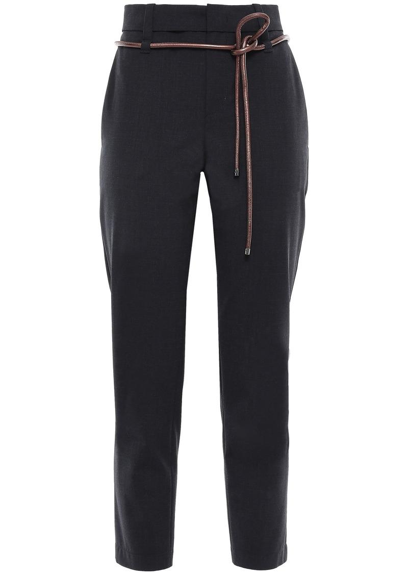 Brunello Cucinelli Woman Belted Cropped Wool-blend Slim-leg Pants Black