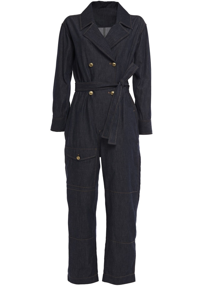 Brunello Cucinelli Woman Belted Denim Jumpsuit Dark Denim