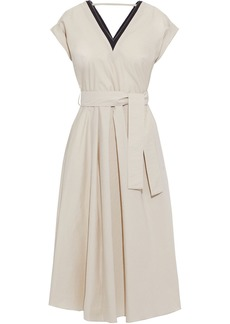 Brunello Cucinelli Woman Bead-embellished Belted Crinkled Cotton-blend Midi Dress Cream