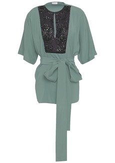 Brunello Cucinelli Woman Belted Embellished Satin-paneled Stretch-silk Blouse Grey Green