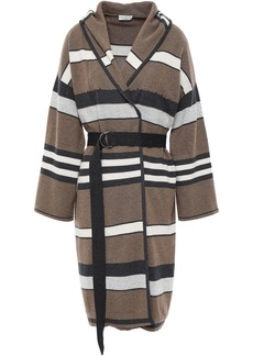 Brunello Cucinelli Woman Belted Embellished Striped Cashmere Hooded Cardigan Mushroom