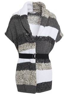 Brunello Cucinelli Woman Belted Embellished Striped Cotton-blend Cardigan Gray