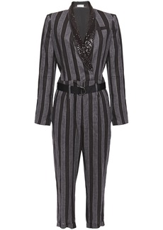 Brunello Cucinelli Woman Belted Embellished Striped Linen Jumpsuit Dark Gray