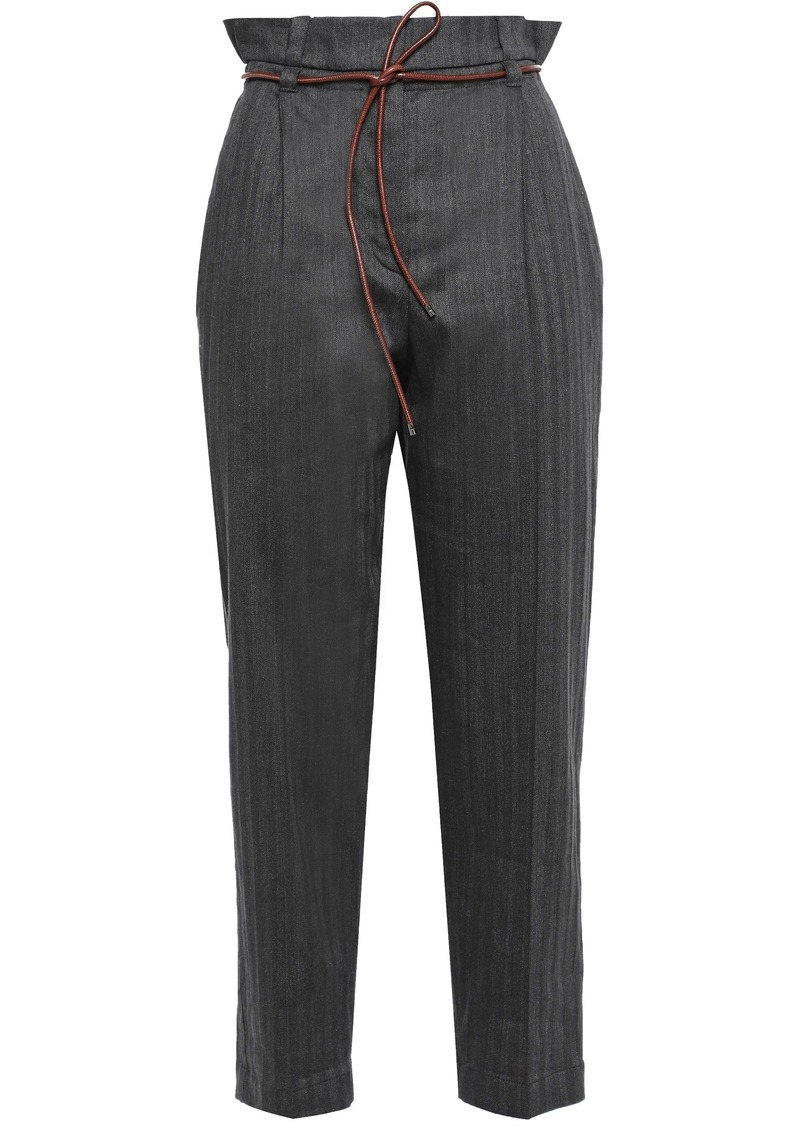 Brunello Cucinelli Woman Belted Herringbone Cotton-blend Tapered Pants Anthracite