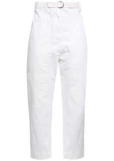 Brunello Cucinelli Woman Belted High-rise Tapered Jeans Ivory