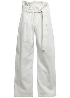 Brunello Cucinelli Woman Belted High-rise Wide-leg Jeans White