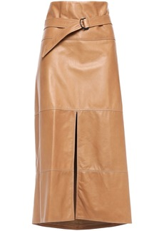 Brunello Cucinelli Woman Belted Leather Midi Skirt Light Brown