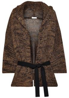 Brunello Cucinelli Woman Belted Metallic Mélange Open-knit Hooded Cardigan Brass