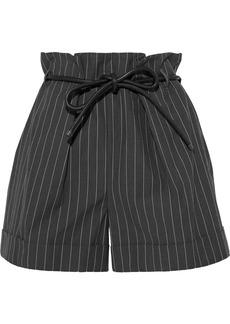 Brunello Cucinelli Woman Belted Pinstriped Cotton-blend Shorts Dark Gray