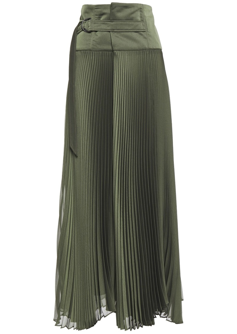 Brunello Cucinelli Woman Belted Pleated Crepon Maxi Skirt Army Green