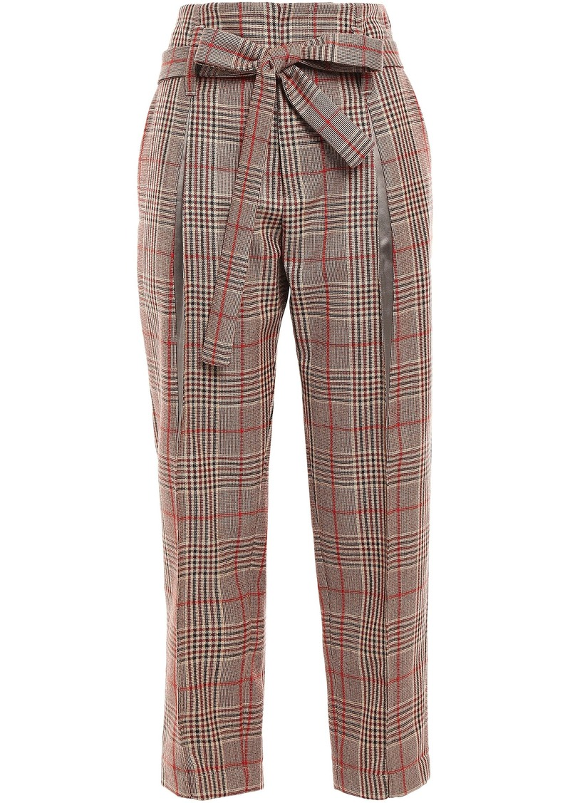 Brunello Cucinelli Woman Belted Prince Of Wales Of Checked Wool Straight-leg Pants Light Brown