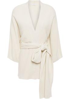 Brunello Cucinelli Woman Belted Ribbed Cotton Cardigan Ecru