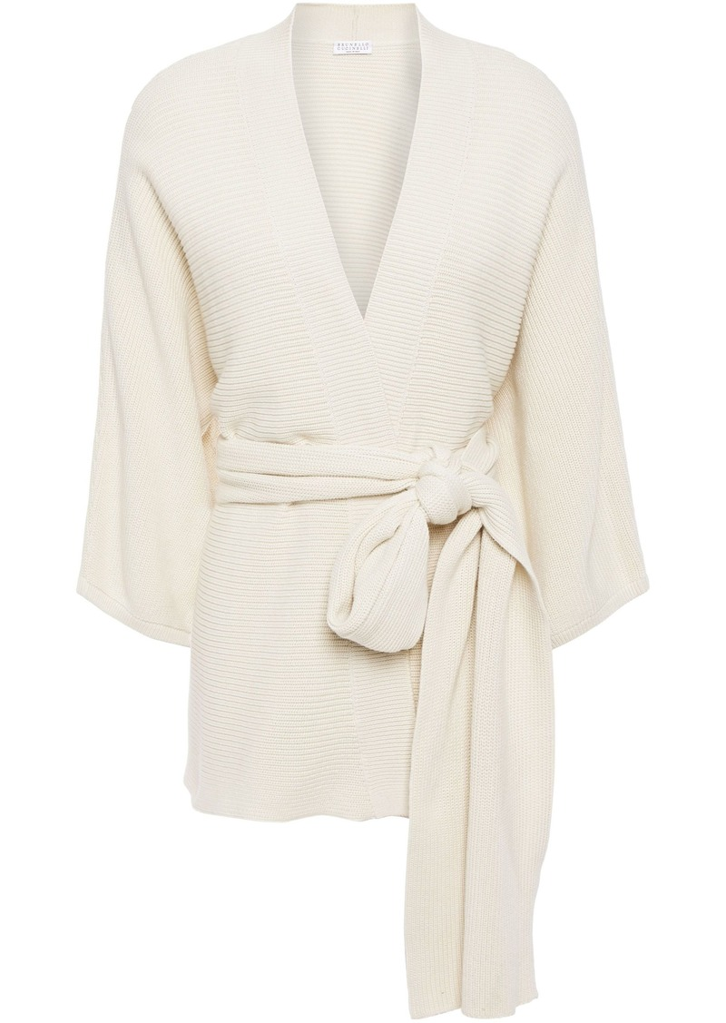 Brunello Cucinelli Woman Belted Ribbed Cotton Cardigan Ecru