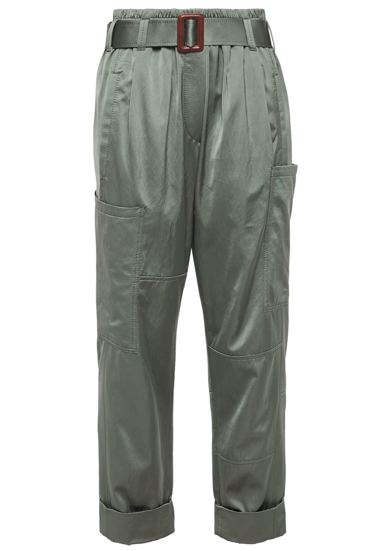 Brunello Cucinelli Woman Belted Satin Straight-leg Pants Grey Green
