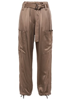 Brunello Cucinelli Woman Belted Satin Tapered Pants Brass