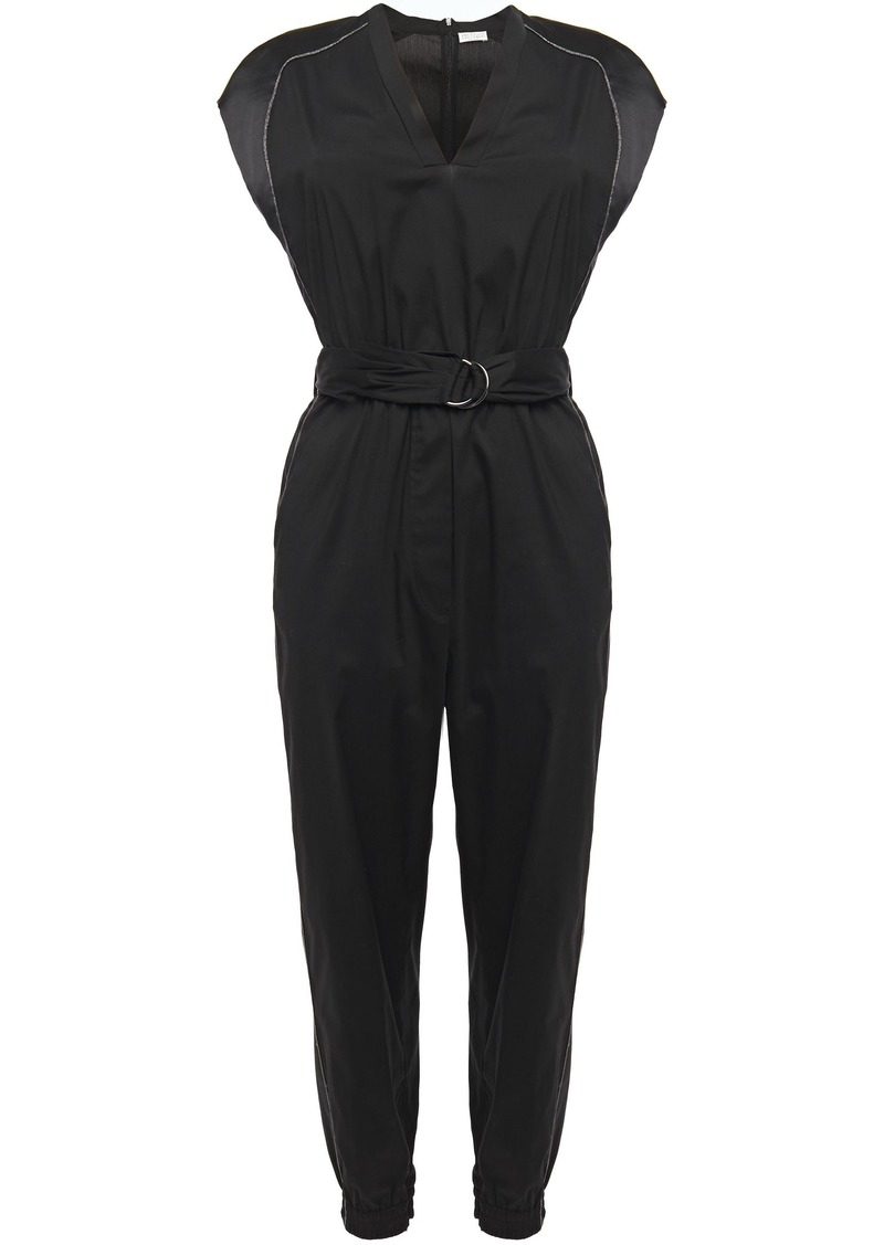 Brunello Cucinelli Woman Belted Satin-trimmed Cotton-blend Poplin Jumpsuit Black