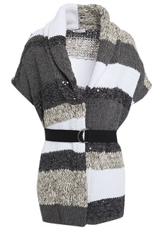 Brunello Cucinelli Woman Belted Sequin-embellished Intarsia-knit Cardigan Light Gray