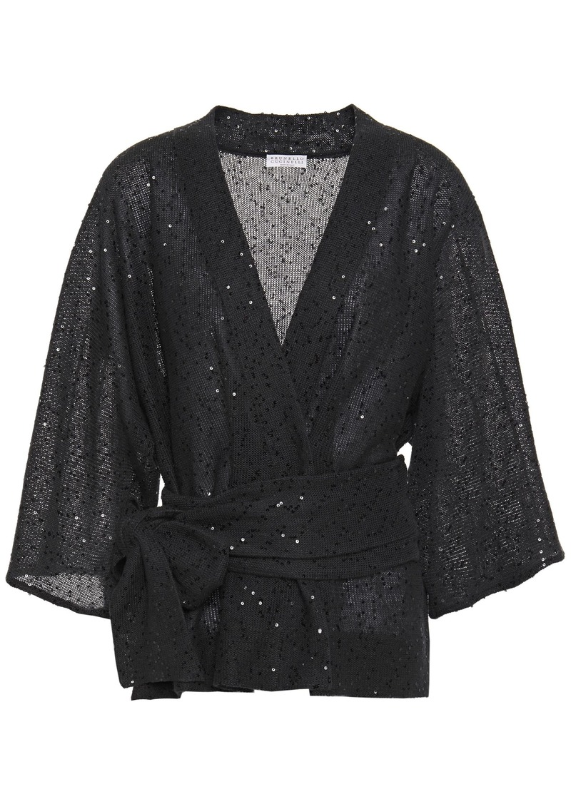 Brunello Cucinelli Woman Belted Sequin-embellished Linen And Silk-blend Top Charcoal