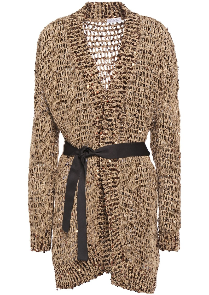 Brunello Cucinelli Woman Grosgrain-trimmed Embellished Open-knit Cardigan Light Brown