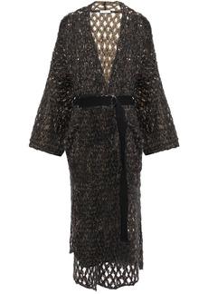 Brunello Cucinelli Woman Belted Sequin-embellished Open-knit Mohair-blend Cardigan Black