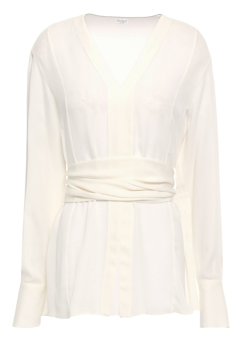 Brunello Cucinelli Woman Belted Silk-crepe Blouse Ivory