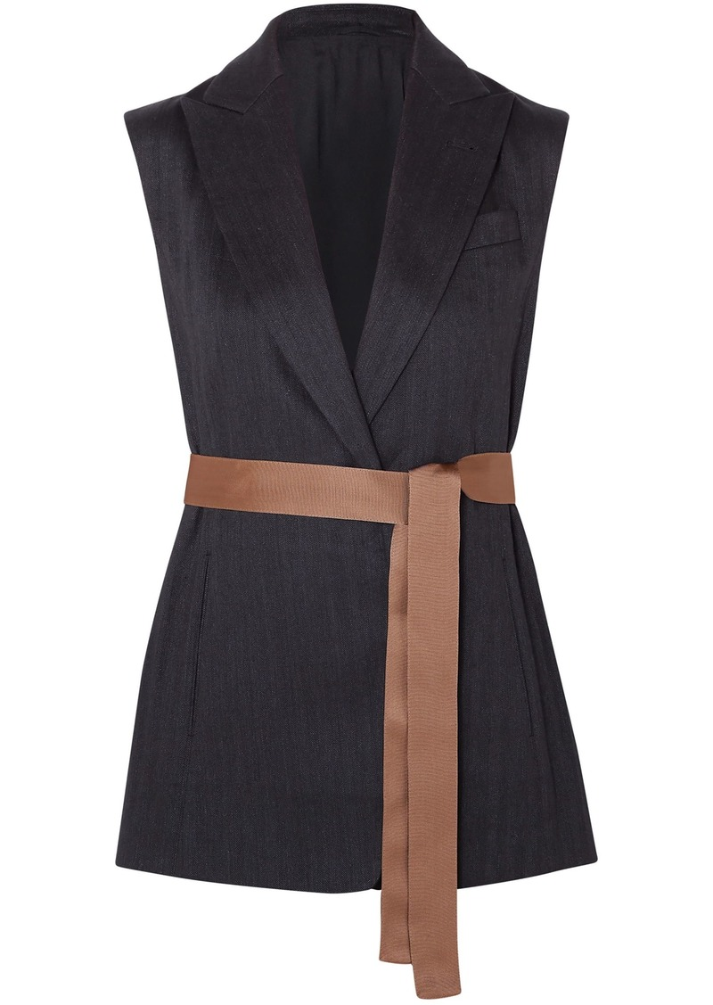 Brunello Cucinelli Woman Belted Silk-faille Trimmed Herringbone Cotton-blend Vest Charcoal