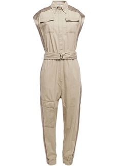 Brunello Cucinelli Woman Satin-trimmed Bead-embellished Cotton Jumpsuit Beige